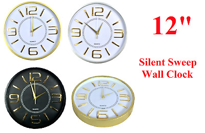 Modern Wall Clock,12 Inch Large with Gold Numbers Silent Sweep Indoor Quartz