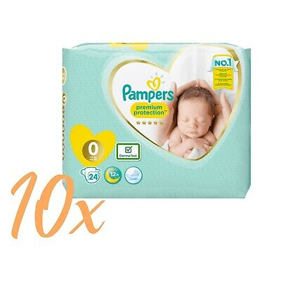 10x24 Windeln=240 Pampers Premium Protection New Baby Micro Gr.0 Newborn < 3kg