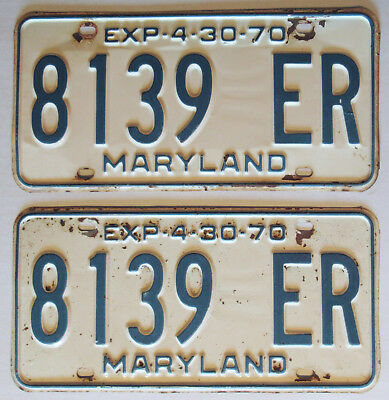 1969 - 1970 Maryland Truck License Plates Pair Blue And White