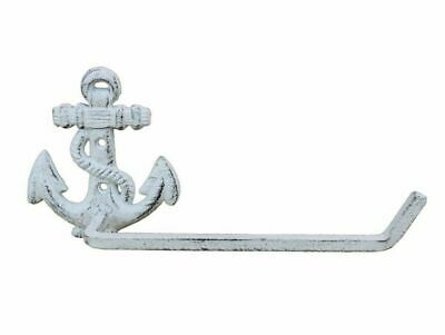 Whitewashed Cast Iron Anchor Toilet Paper Holder 10""