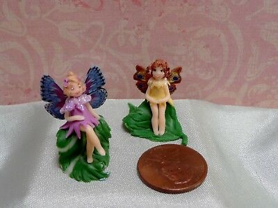 Two Darling 1:12 Miniature Fairies on Leaves