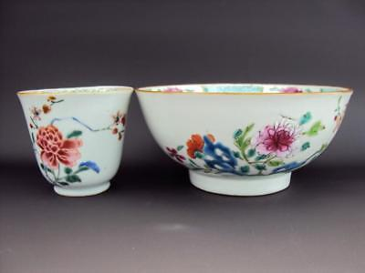 V-Fine Qianlong 1736-95 Chinese Porcelain Oriental Antique Famille Rose Bowl Cup