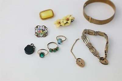 Lot of 10 x True Vintage / Antique Jewellery - Rolled Gold & Painted Enamel 60g