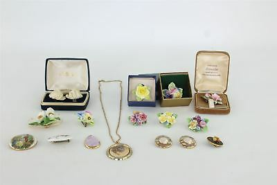 Lot of 15 x Vintage Hand-Painted Bone China Jewellery Some Boxed 369g