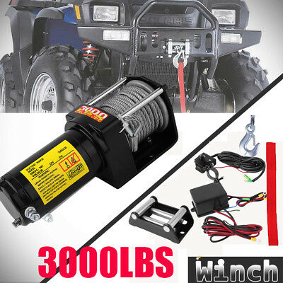 3000Lbs Electric Winch 1360Kg Recovery Synthetic Rope Wireless Remote Control Uk