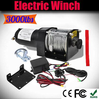 12V Electric Winch 1360KG ATV Trailer Plate Roller Fairlead Wire Remote Control