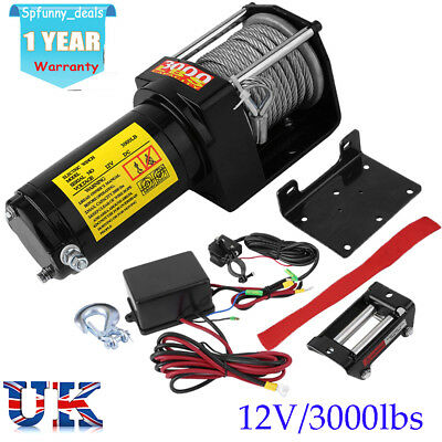 3000lbs (1361kg) ATV Electric Winch Kit Wireless Remote Control 12V UTV Trailer