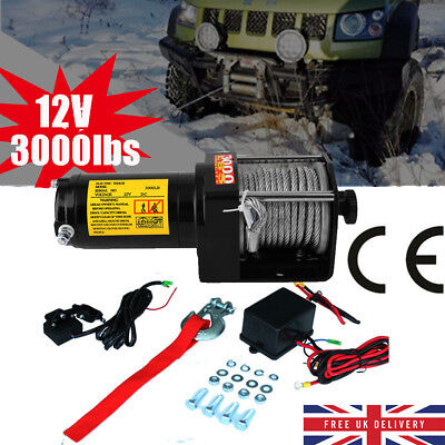 ATV Trailer 12v Electric Winch 3000lb Steel Cable - Heavy Duty Wireless Off Road