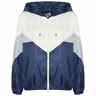Kids Girls Boys Windbreaker Jackets Navy Panelled Hooded Raincoats Age 5-13 Year
