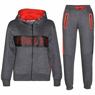 Kids Girls Boys Tracksuit Designer #Selfie Zipped Top Bottom Jogging Suit 5-13Yr