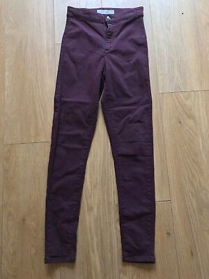 "Topshop ""joni"" Burgandy Stretch High Waisted Skinny  Jeans Size W 30"" L 30"""