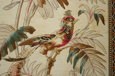 Antique French fabric roller and block Printed cotton 1870 arts n crafts insect