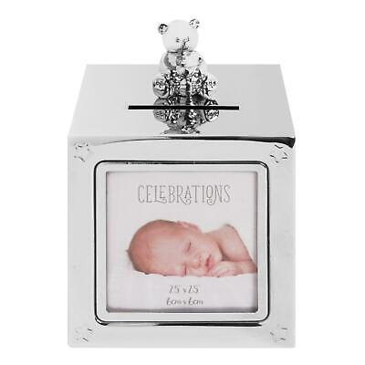 Cube Photo Money Box Bear Silver Plated Baby Baptism Christening Gift Silverware