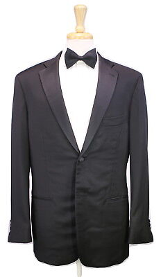 * ISAIA * Napoli Solid Black Notch Lapel 2-Btn Tuxedo Wool Luxury Suit 42L
