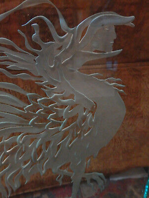 Art Deco Etched Glass Lighted Picture light lamp dragon rooster signed artist