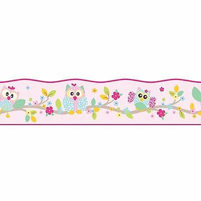 Fine Decor Self Adhesive Pink Patchwork Owls Bird Girls Wallpaper Border Bo50100