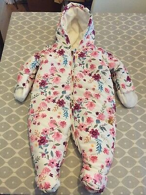 Mothercare Girls 0-3 Up To 3 Months Snowsuit Pramsuit