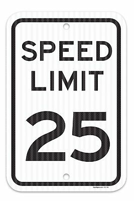 """Speed Limit 25 MPH Sign, Federal 12""""x18"""" 3M Prismatic Engineer Grade Reflective"""