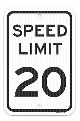 """Speed Limit 20 MPH Sign, Federal 12""""x18"""" 3M Prismatic Engineer Grade Reflective"""