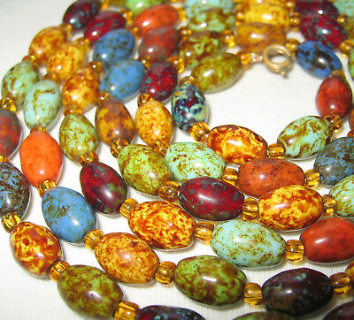 """44"""" LONG ANTIQUE VINTAGE ART DECO TO 60's SCOTTISH AGATE GLASS BEADS NECKLACE"""