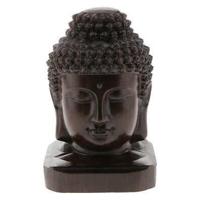 Baoblaze Collectible Chinese Carved Wood Tibetan Buddhism Buddha Head Statue