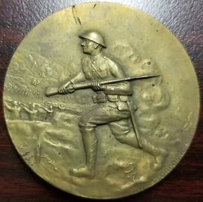 "WWI 1917 FRANCE 1918 MEDAL FOR THE 79th ""CROSS OF LORRAINE"" DIVISION BRONZE"