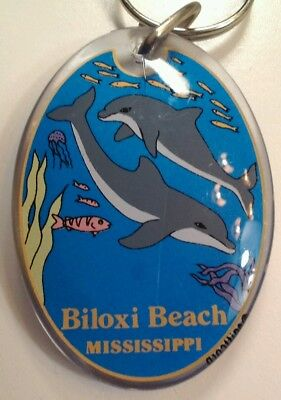 VTG Collectible Acrylic Key Chain BILOXI BEACH MS DOLPHINS VHTF LUCITE