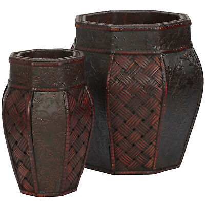 "Set of 2 Floral & Weave Panels 7"" & 11"" Wide Burgundy Decorative Planters Pots"