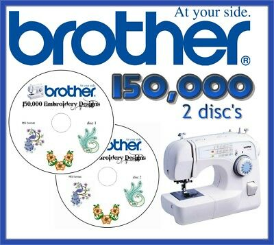 Brother Embroidery Pes Files Cards Machine Designs Collection 150,000 2 Cd Disc