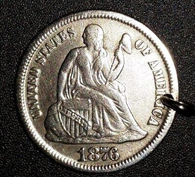 Antique 1876 Seated Liberty Dime Vintage Coin Love Token With Clasp For Necklace
