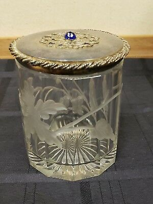 Vintage Silver Plate Cut Ecthched Frosted Glass Biscuit Jar