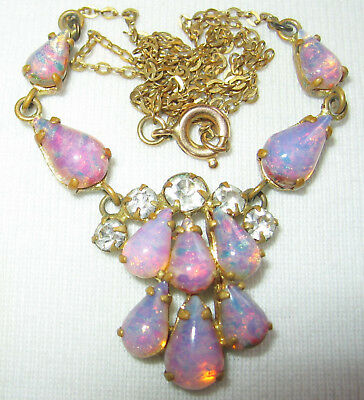 BEAUTIFUL ANTIQUE VINTAGE ART DECO to 50'S GLASS OPAL & CRYSTAL CHAIN NECKLACE