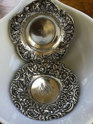 PAIR 2 STERLING SILVER BON Candy DISHES Trays Repousse Floral Grape Vine ORNATE