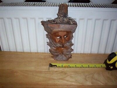 Antique Vintage BLACK FOREST Wooden FACE WALL PLAQUE Hand Carved