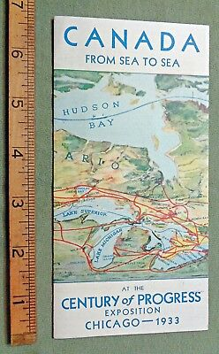 CANADA 1933 century of progress CHICAGO  EXPOSITION A.S.N. MAP brochure rockies