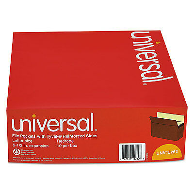 UNIVERSAL 5 1/4 Inch Expansion File Pockets Straight Tab Letter Redrope/Manila