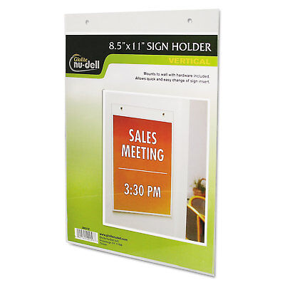 Nudell Clear Plastic Sign Holder Wall Mount 8 1/2 x 11 38011Z