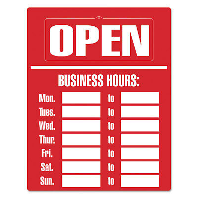 Cosco Business Hours Sign Kit 15 x 19 Red 098072