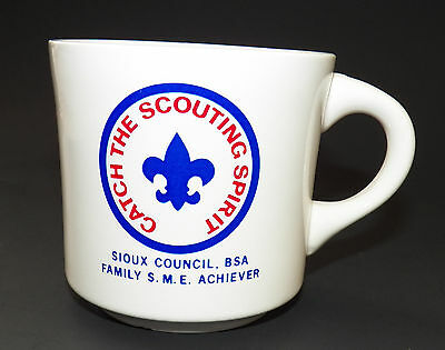 Catch Scouting Spirit BSA Boy Scouts America Mug Coffee Cup Sioux Council VTG