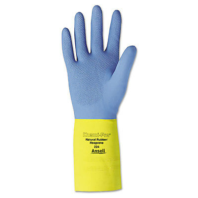 AnsellPro Chemi-Pro Neoprene Gloves Blue/Yellow Size 10 12 Pairs 22410