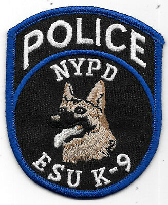"Police Patch: Nypd New York Esu K-9 Police Patch Measures 3 1/2"" X 3"""