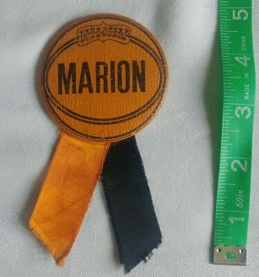"""Vintage Marion Highschool BASKETBALL Pin Button w/ Ribbons ...2 1/2"""" across"""