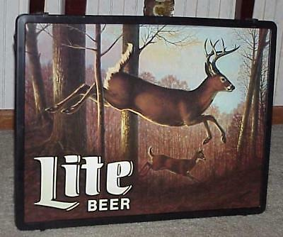 1986 LITE BEER Big 8 Point BUCK DEER & DOE Running Through Woods SIGN (EX+) NOS