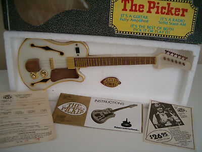 "Vintage Transistor Radio ""THE PICKER GUITAR"" Orig Box Pick Papers Pick or Play!!"