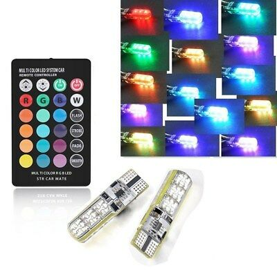 T10 RGB CAR INTERIOR SIDE LIGHT BULB CANBUS ERROR FREE 6 SMD LED WITH Controller