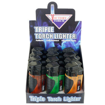 (12) Triple Jet Torch Lighter Adjustable Windproof Butane Refillable/w Puncher