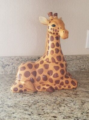 "Sakura by Stephanie Stouffer Giraffe Hand Painted Canister Cookie Jar 13"" Tall"