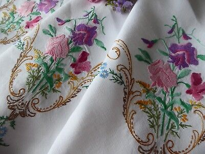 Vintage Hand Embroidered Tablecloth/ Exquisite Pink And Lilac Sweet Peas