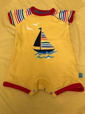 Mothercare Little Bird By Jools Rainbow Sailboat Yellow Romper 0-3 Months