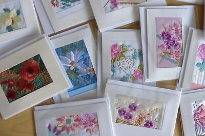 50 Embroidered Cards assorted open floral - 35p each - ideal fundraisers
